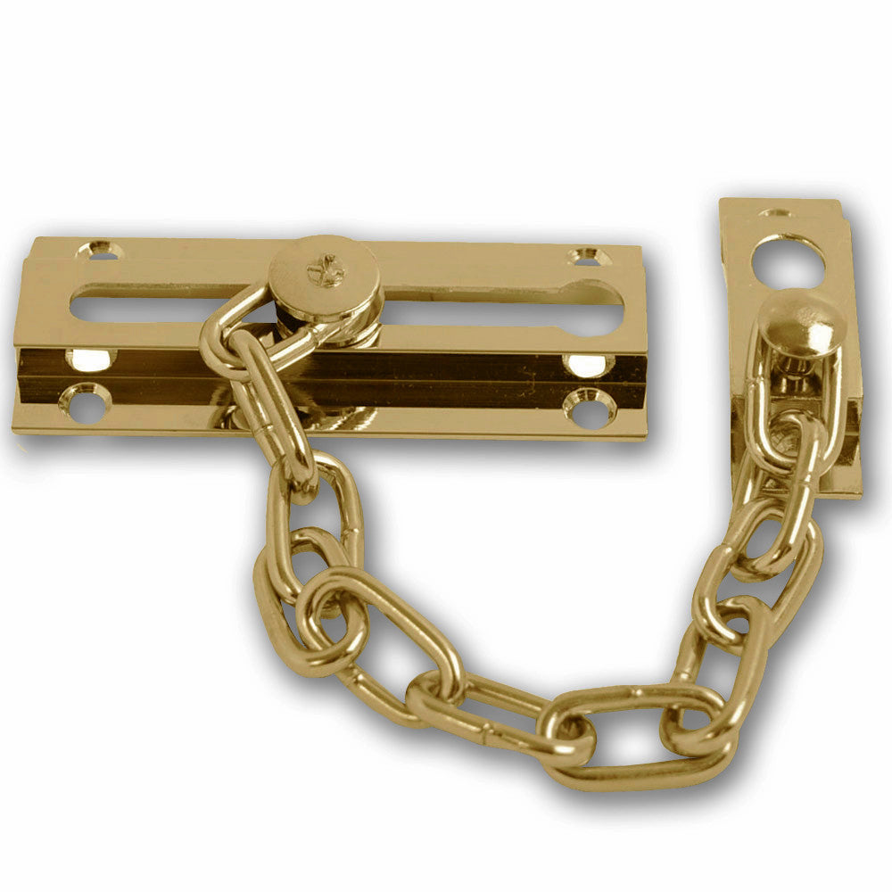 Door Security Chain - Polished Solid Brass - 85mm