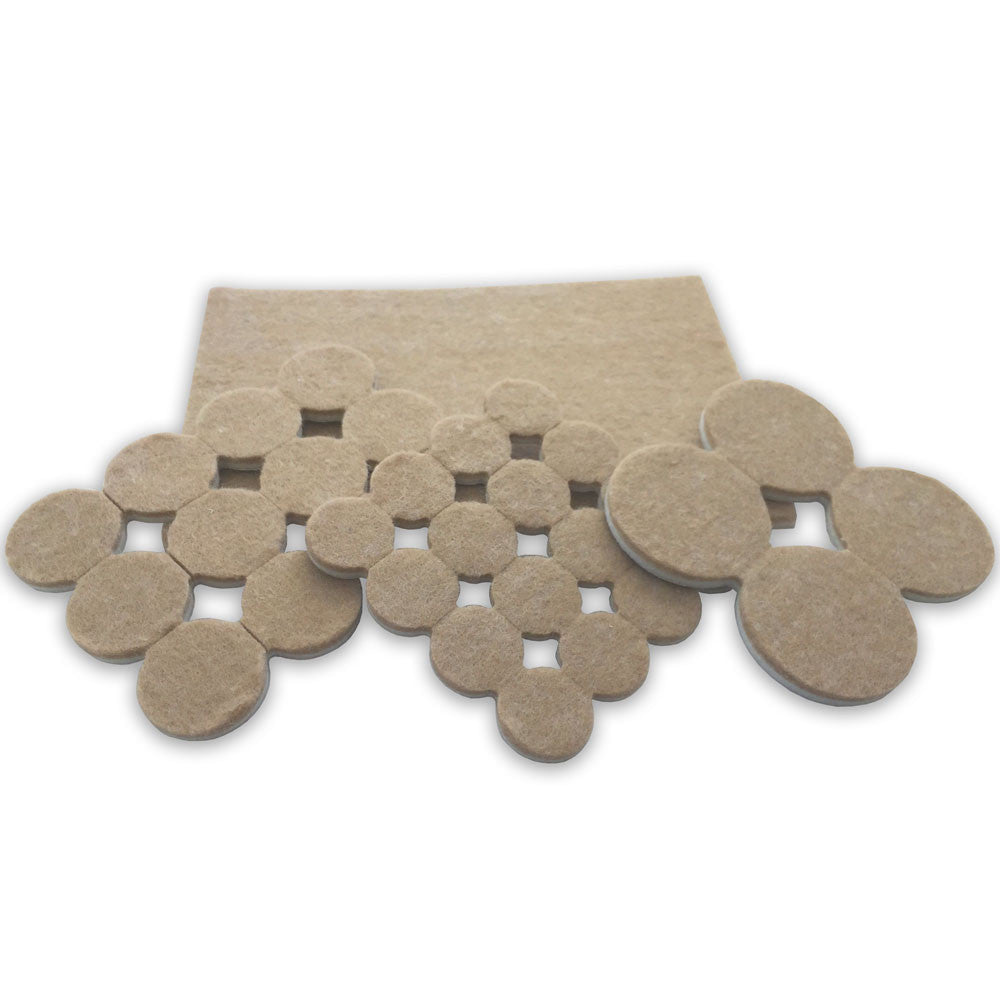 Thick Felt Furniture Pads - Pack of 33 assorted Shapes / Sizes - RKL Tools & Hardware  - 1