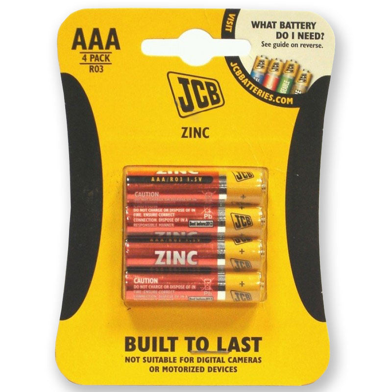 JCB - Zinc Carbon Batteries - AAA - Pack of 4
