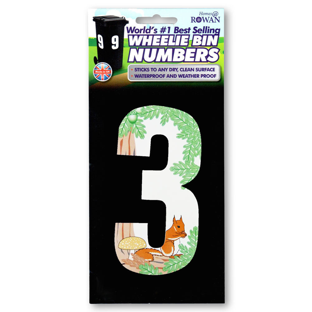 Wheelie Bin Numbers - 170mm - Squirrel Design