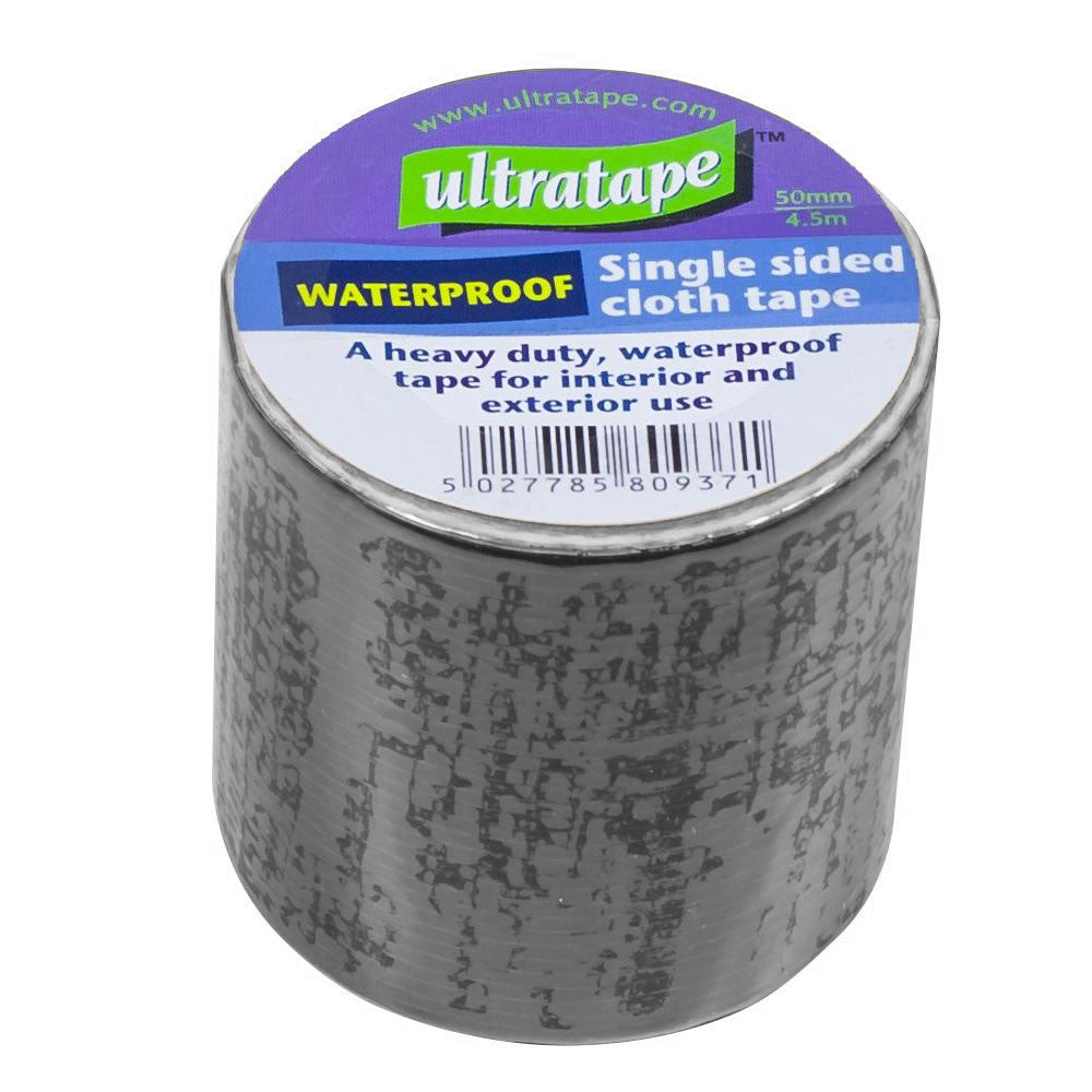 Ultratape - Black Waterproof Cloth Tape - 4.5m x 50mm - RKL Tools & Hardware