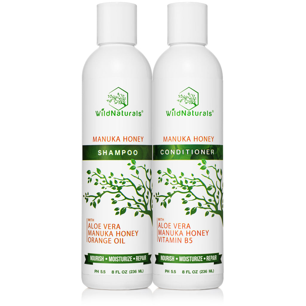 Wild Naturals Manuka Honey Shampoo and Conditioner Set 8 Ounce