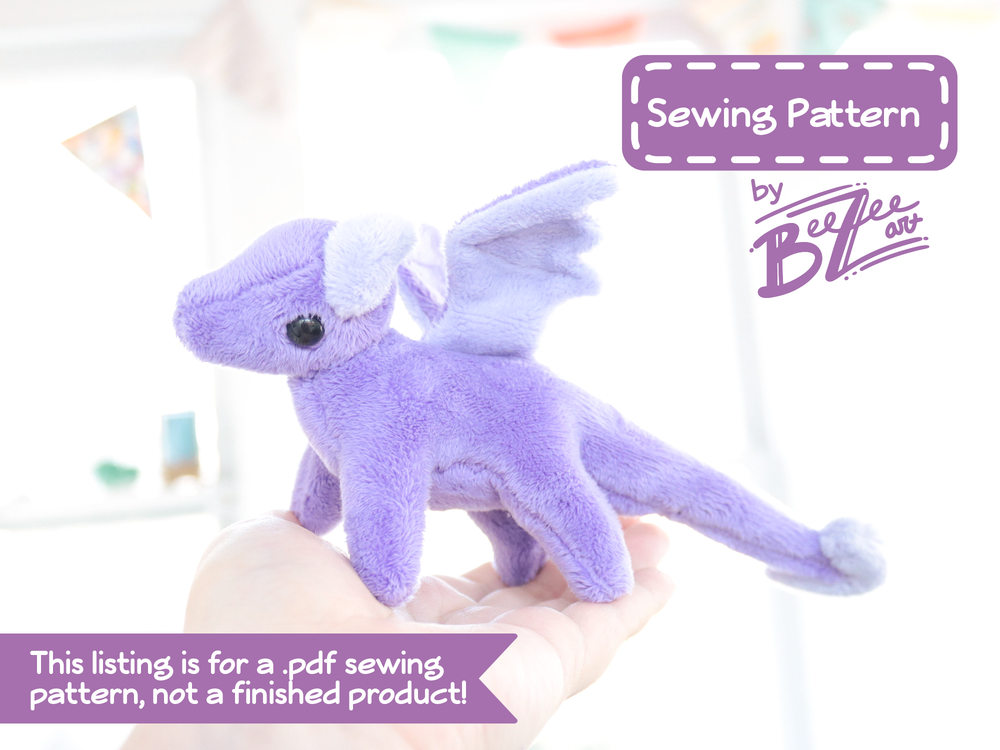 Tiny Dragon Stuffed Animal Sewing Pattern - Digital Download