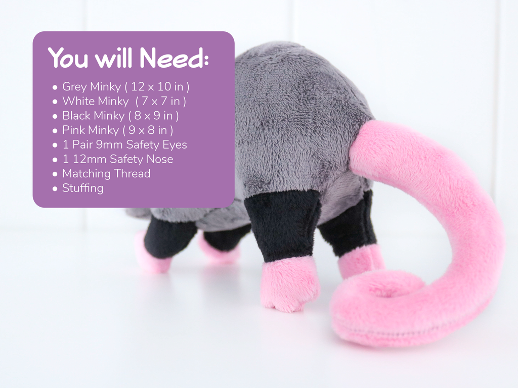 Opossum Stuffed Animal Sewing Pattern - Digital Download