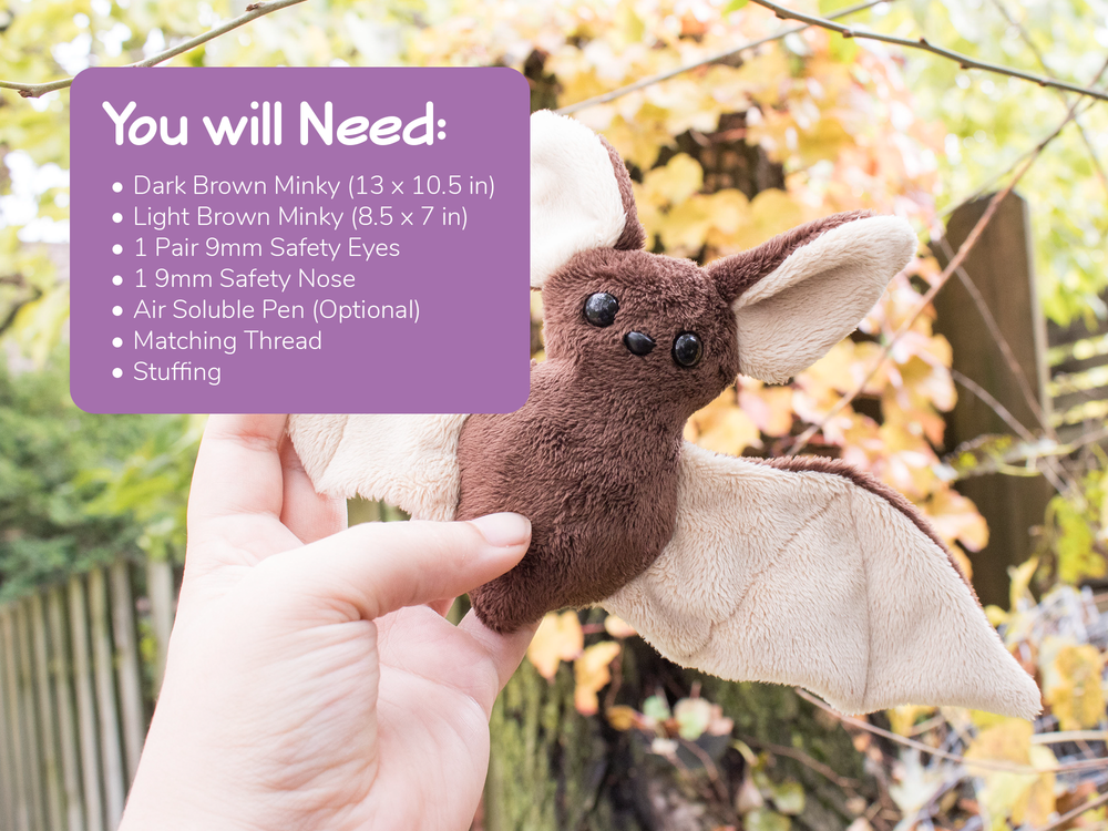Beginner Bat Stuffed Animal Sewing Pattern  - Digital Download
