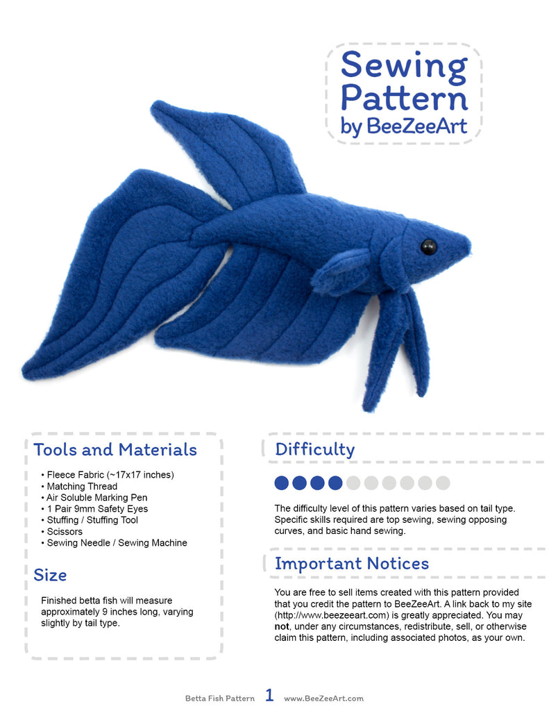 Betta Fish Stuffed Animal Sewing Pattern  - Digital Download - BeeZeeArt - 2