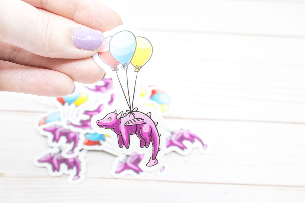 Balloon Dragon Vinyl Sticker, 3 x 1.5 Inches, Stickers, BeeZeeArt