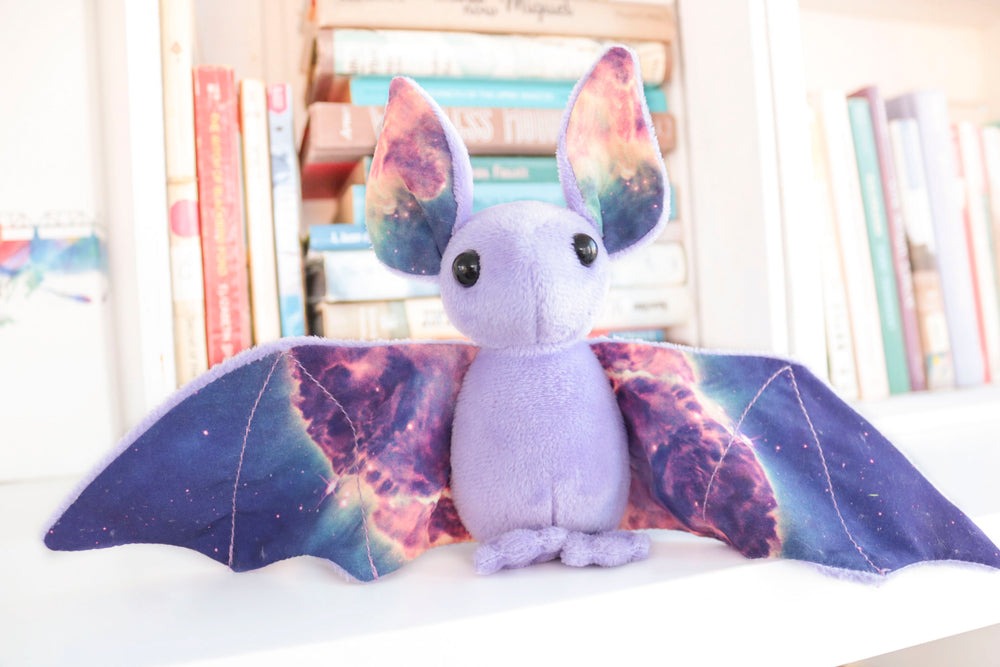 Purple Galaxy Bat Stuffed Animal, Plush Toy, Bat Plushie