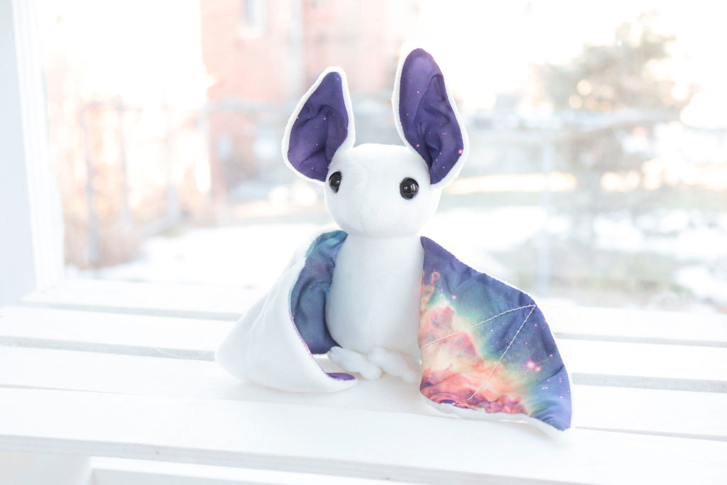 White Galaxy Bat Stuffed Animal, Plush Toy, Bat Plushie