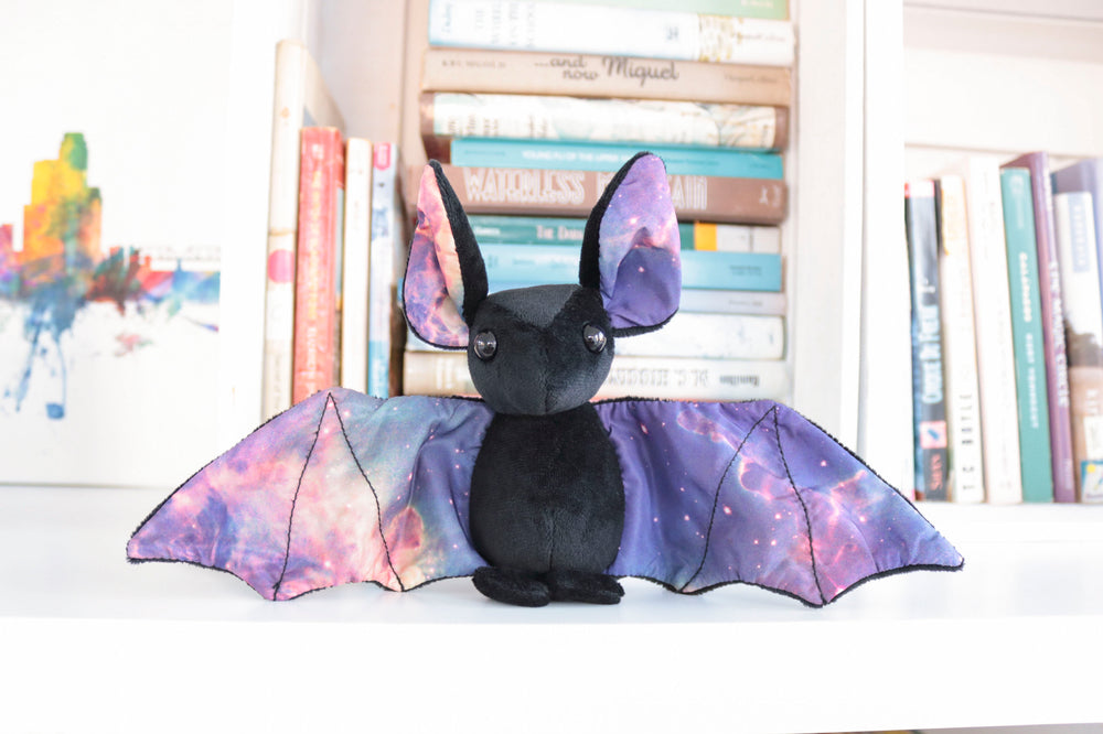 Black Galaxy Bat Stuffed Animal, Plush Toy, Bat Plushie