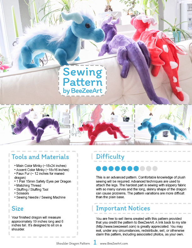 Shoulder Dragon Plush Sewing Pattern, Stuffed Animal Pattern, PDF File, Digital Download