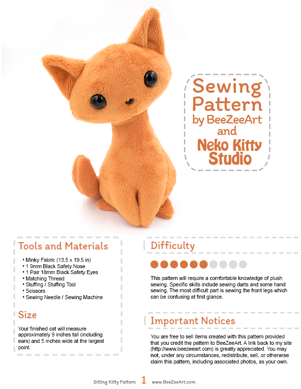 Sitting Kitty Cat Stuffed Animal Sewing Pattern, PDF Plush Pattern - Digital Download, Pattern, BeeZeeArt