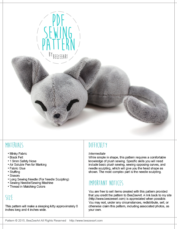 Sleepy Cat Stuffed Animal Sewing Pattern, PDF Plush Pattern, Digital Download, Pattern, BeeZeeArt