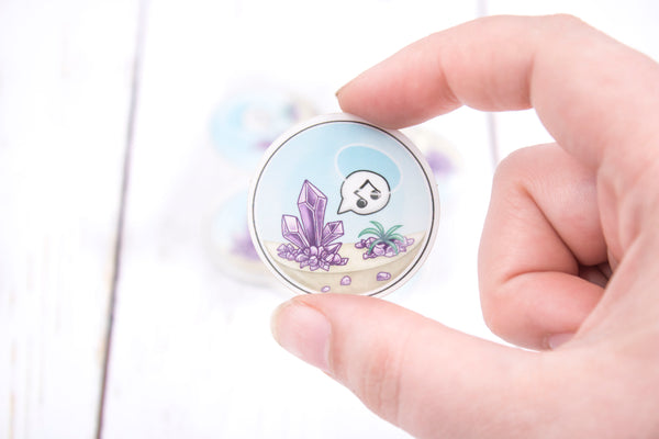 Amethyst Crystal Terrarium, Glossy Vinyl Sticker, 1.5 Inches, Stickers, BeeZeeArt
