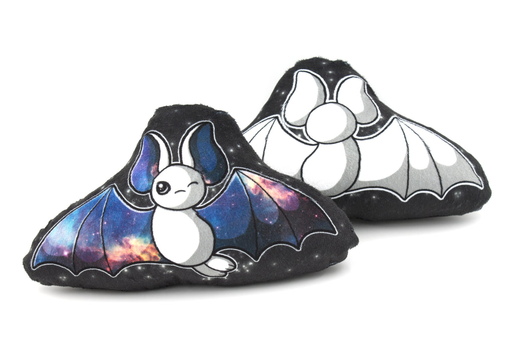 Small White Galaxy Bat Pillow Plush - BeeZeeArt - 1