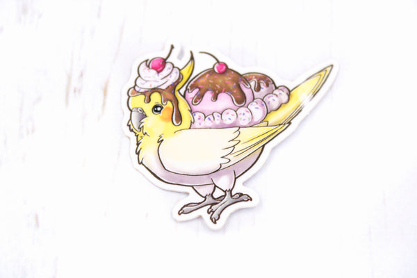 Cockatiel Sundae Sticker, Chocotiel, Glossy Vinyl Sticker, 2 Inches, Stickers, BeeZeeArt