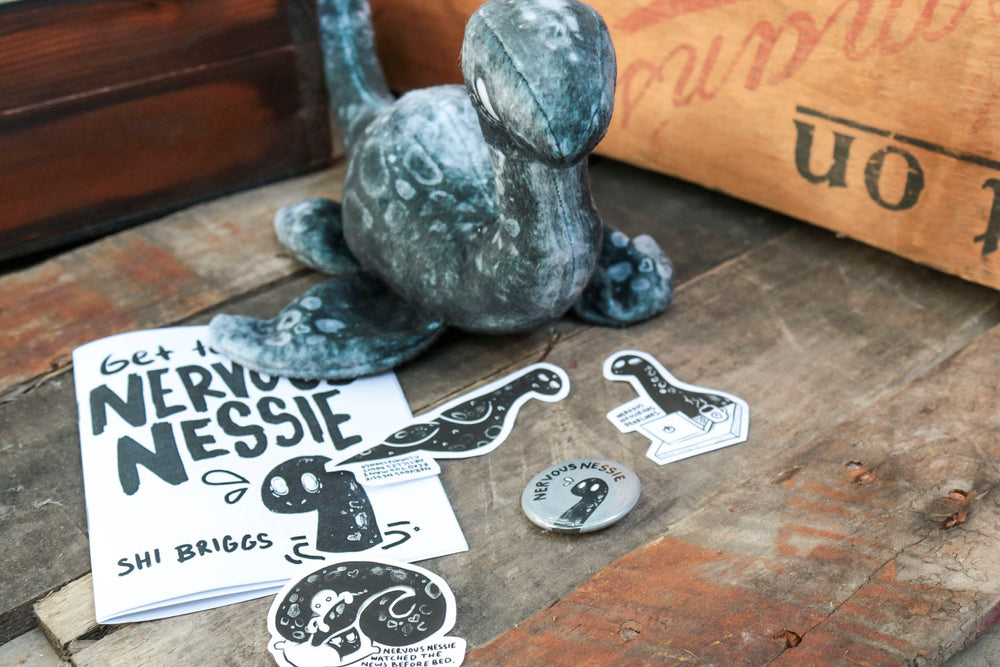Nervous Nessie Bundle, Stuffed Animal, Pin, Zine, Stickers