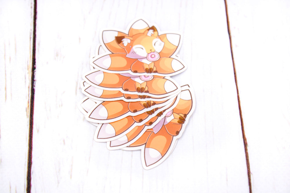 Doughnut Fox Sticker, Kitsune Fox, Glossy Vinyl Sticker, 2 Inches, Stickers, BeeZeeArt