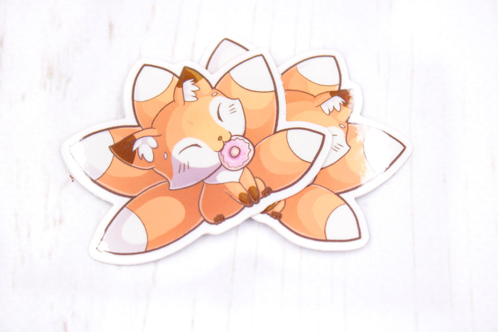 Doughnut Fox Sticker, Kitsune Fox, Glossy Vinyl Sticker, 2 Inches