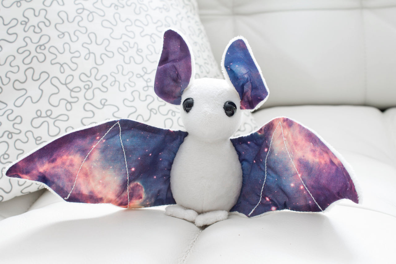 White Galaxy Bat Stuffed Animal, Plush Toy, Bat Plushie, Stuffed Animal, BeeZeeArt