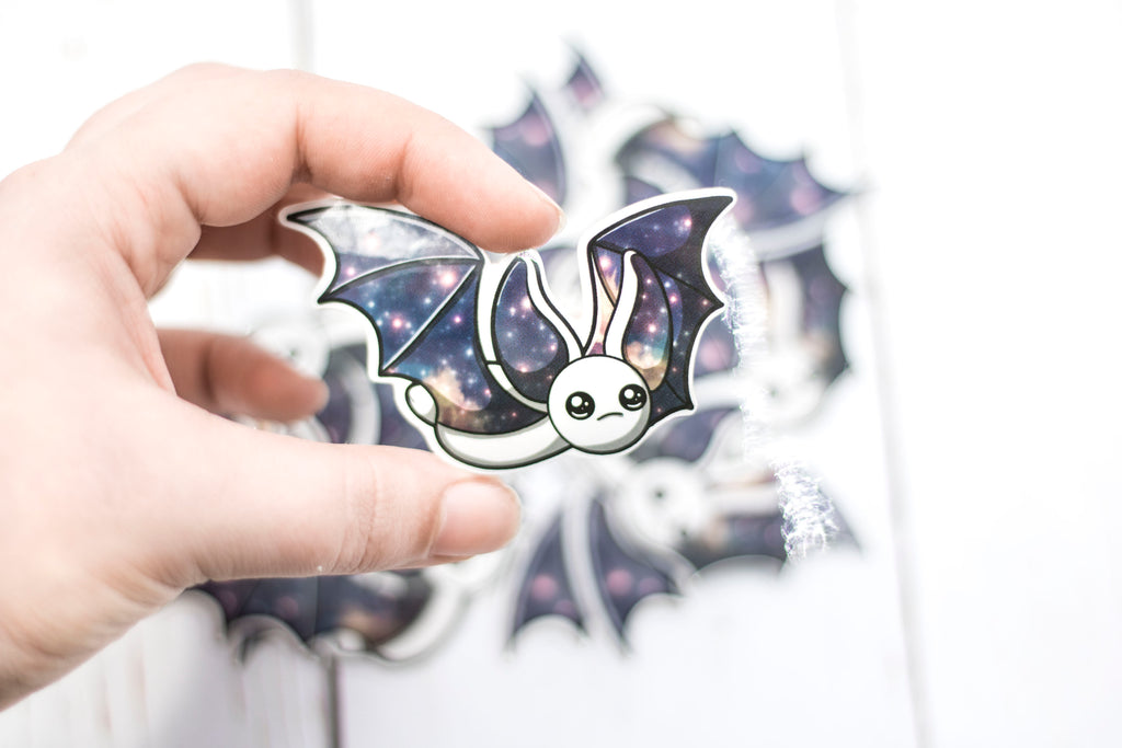 Galaxy Bat Sticker - Flying in White, Stickers, BeeZeeArt