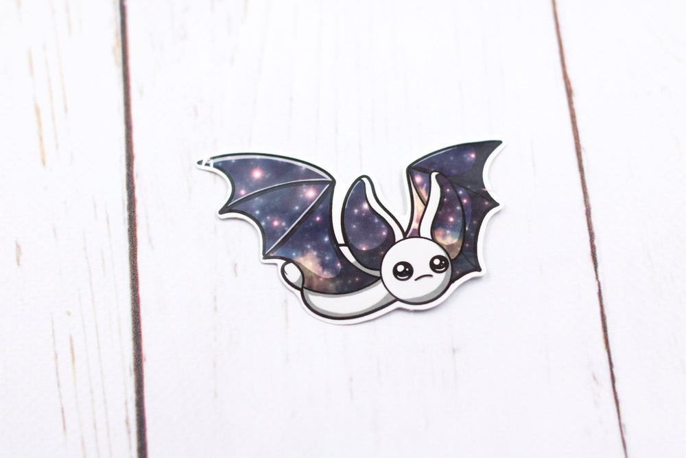 Galaxy Bat Sticker - Flying in White