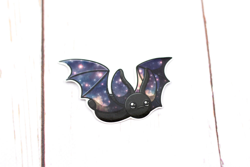Galaxy Bat Sticker - Flying in Black, Stickers, BeeZeeArt