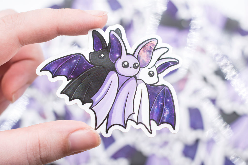 Galaxy Bat Sticker - Set of 3 - White, Black, and Purple