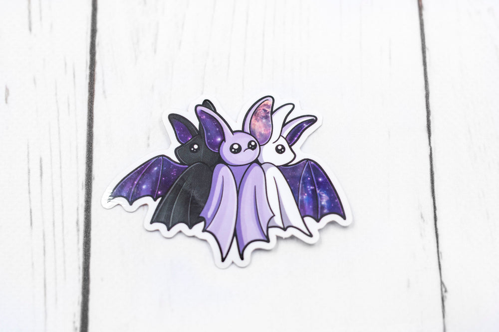 Galaxy Bat Sticker - Set of 3 - White, Black, and Purple, Stickers, BeeZeeArt