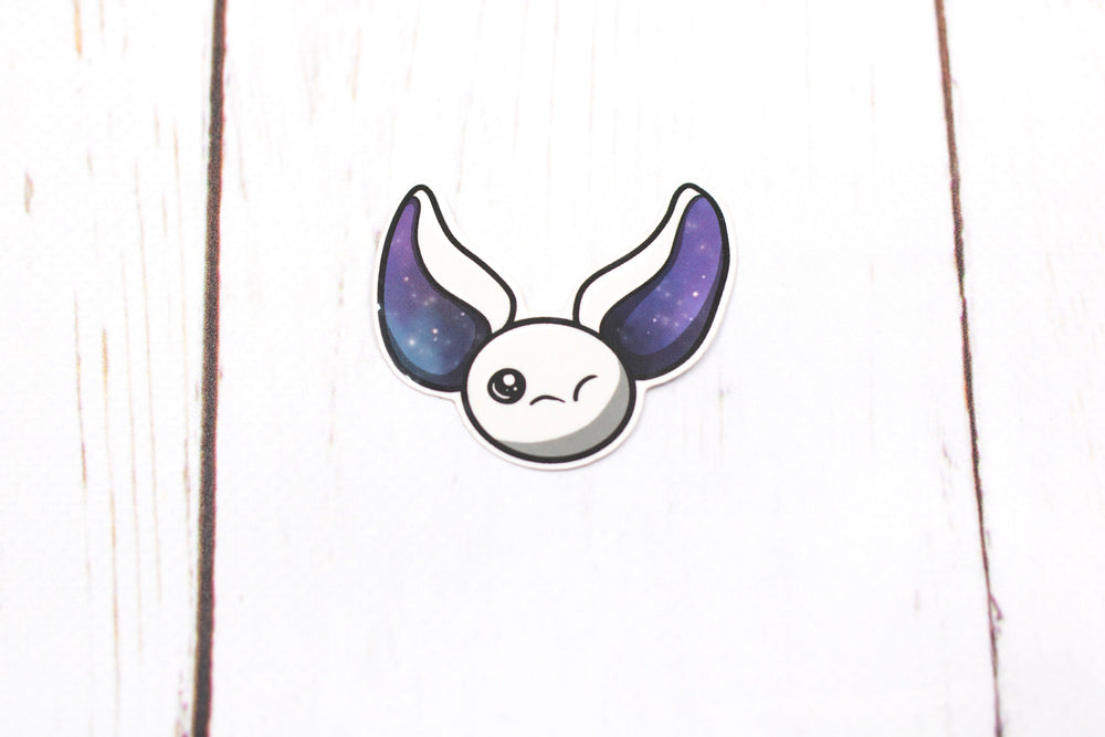 Galaxy Bat Sticker - White Winking Bat Face, Stickers, BeeZeeArt