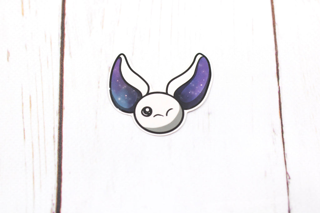 Galaxy Bat Sticker - White Winking Bat Face