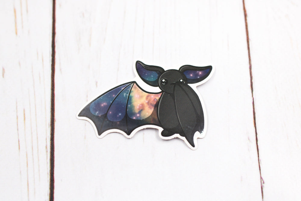 Galaxy Bat Sticker - Waving One Wing in Black