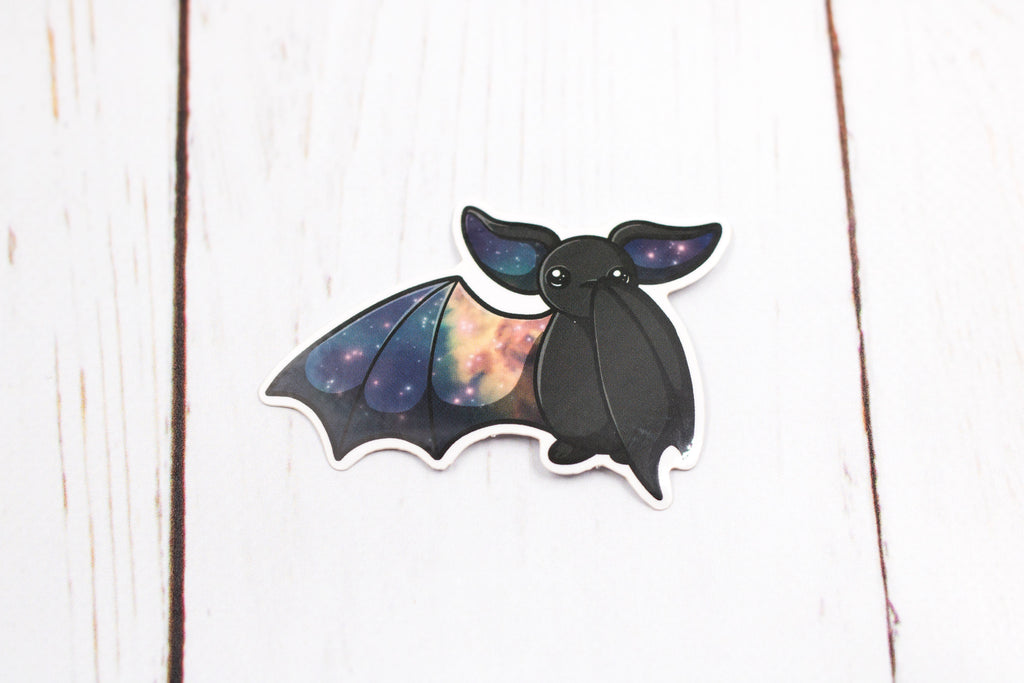 Galaxy Bat Sticker - Waving One Wing in Black, Stickers, BeeZeeArt