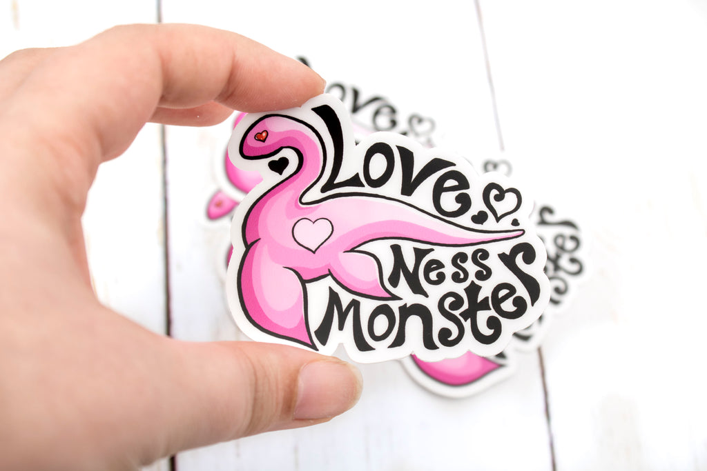 Love Ness Monster Sticker, Loch Ness Monster, Nessie, Vinyl Sticker, 3 Inches