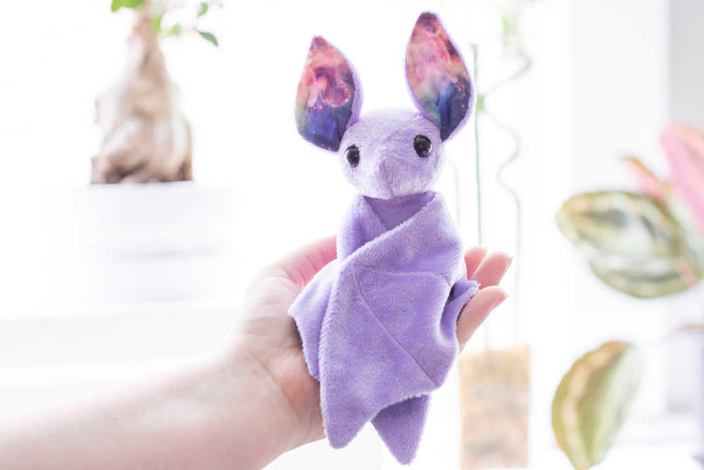 Purple Galaxy Bat Stuffed Animal, Plush Toy, Bat Plushie, Stuffed Animal, BeeZeeArt