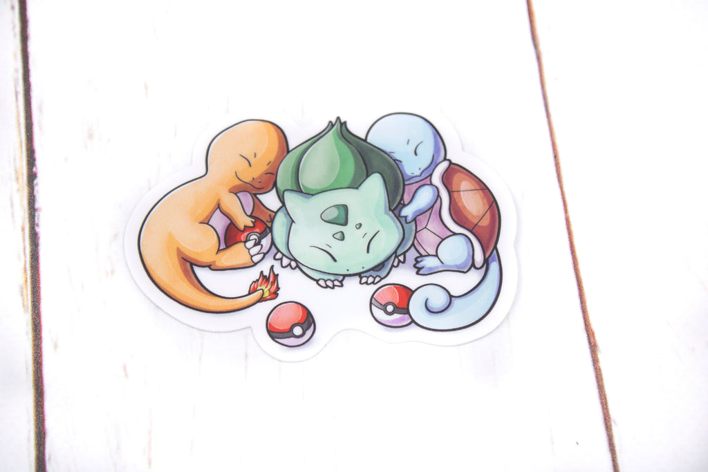 Sleeping Starter Pokemon, Bulbasaur, Charmander, Squirtle, Vinyl Sticker, 3 Inches