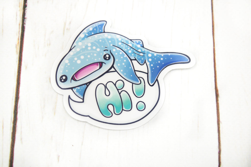 Whale Shark Sticker, Hi!, Vinyl Sticker, 3 Inches