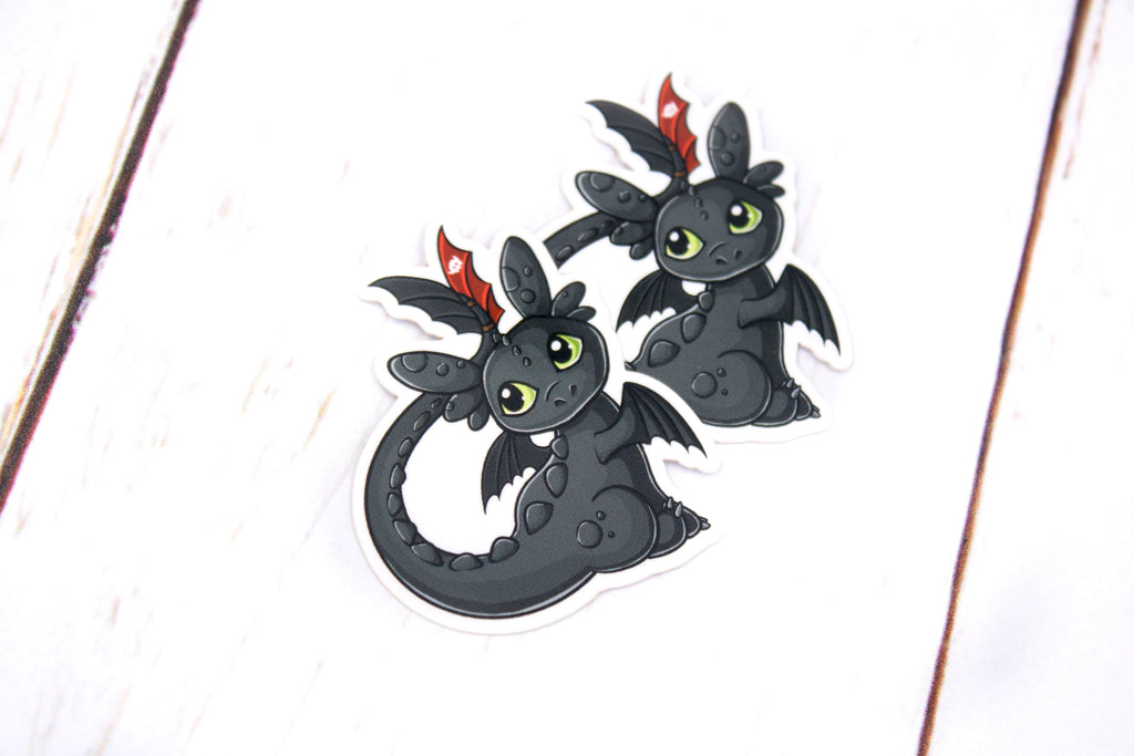 Toothless Sticker, Black Dragon, Glossy Vinyl Sticker, 2 Inches, Stickers, BeeZeeArt