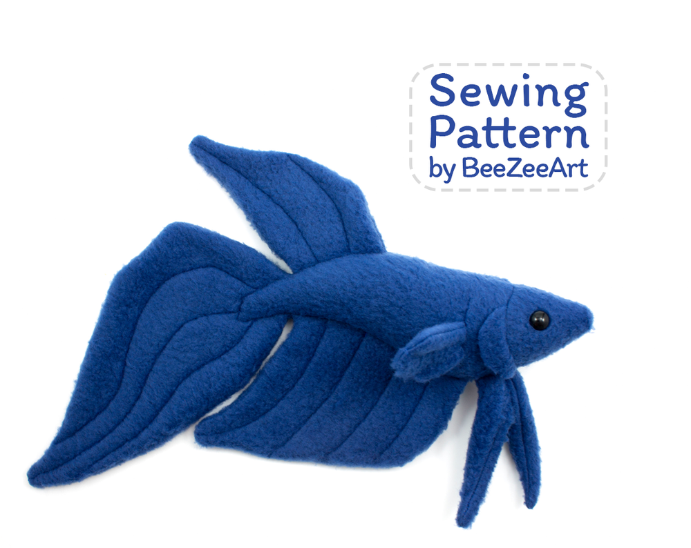 Betta Fish Stuffed Animal Sewing Pattern  - Digital Download - BeeZeeArt - 1