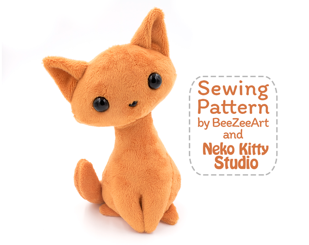 Sitting Kitty Cat Stuffed Animal Sewing Pattern, PDF Plush Pattern - Digital Download