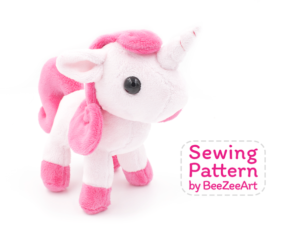 Unicorn Plush Sewing Pattern, Stuffed Animal Pattern, PDF File, Digital Download