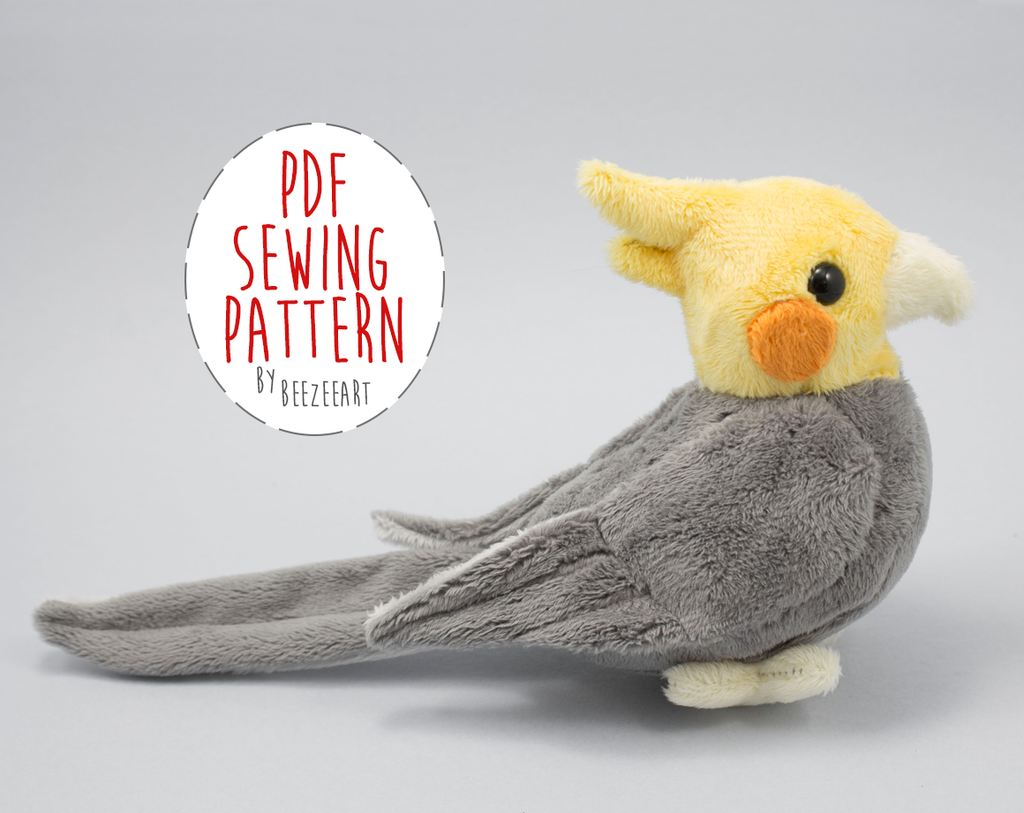 Cockatiel Stuffed Animal Sewing Pattern  - Digital Download - BeeZeeArt - 1