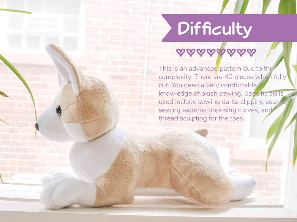 Laying Corgi Stuffed Animal Sewing Pattern - Digital Download