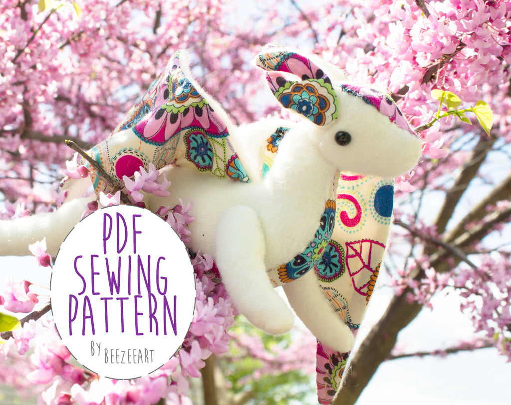 Jointed Dragon Stuffed Animal Sewing Pattern - Digital Download - BeeZeeArt - 1