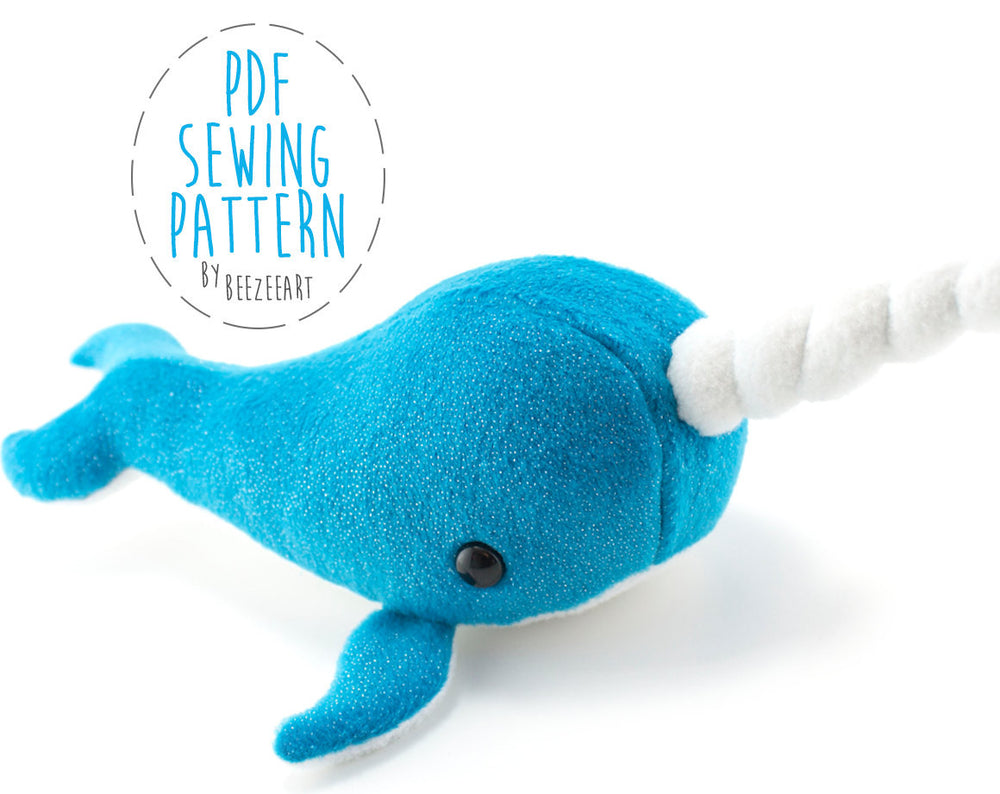 Narwhal Stuffed Animal Sewing Pattern - Digital Download, Pattern, BeeZeeArt