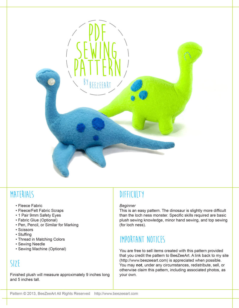 Dinosaur and Loch Ness MonsterStuffed Animal Sewing Pattern  - Digital Download - BeeZeeArt - 1
