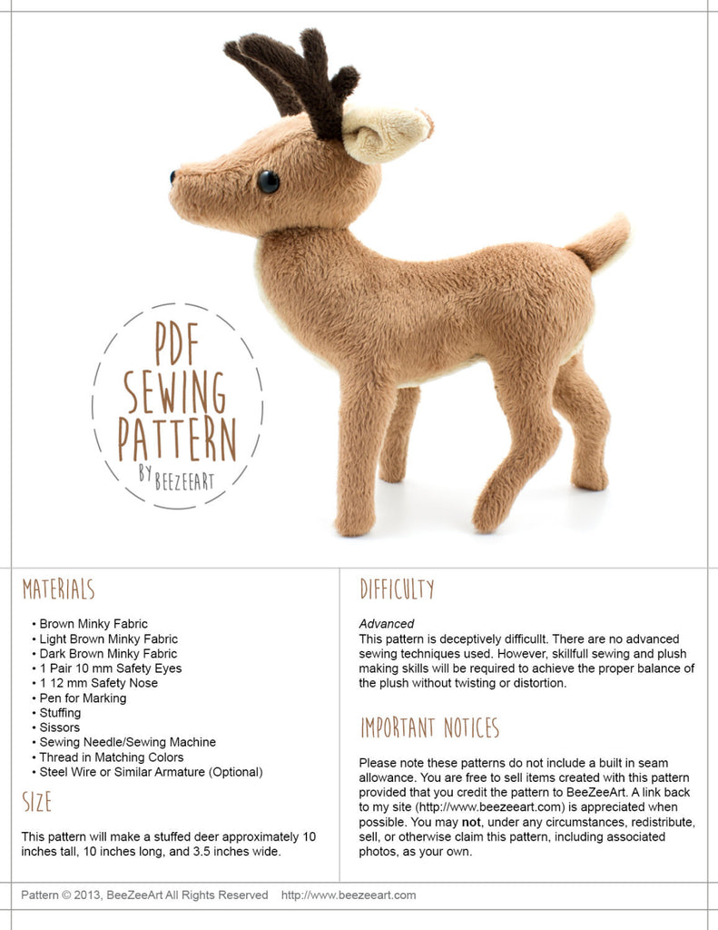 Deer Stuffed Animal Sewing Pattern  - Digital Download, Pattern, BeeZeeArt