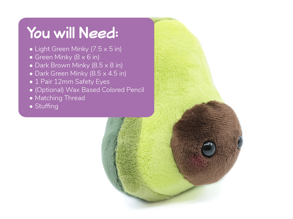 Avocado Plush Sewing Pattern - Digital Download