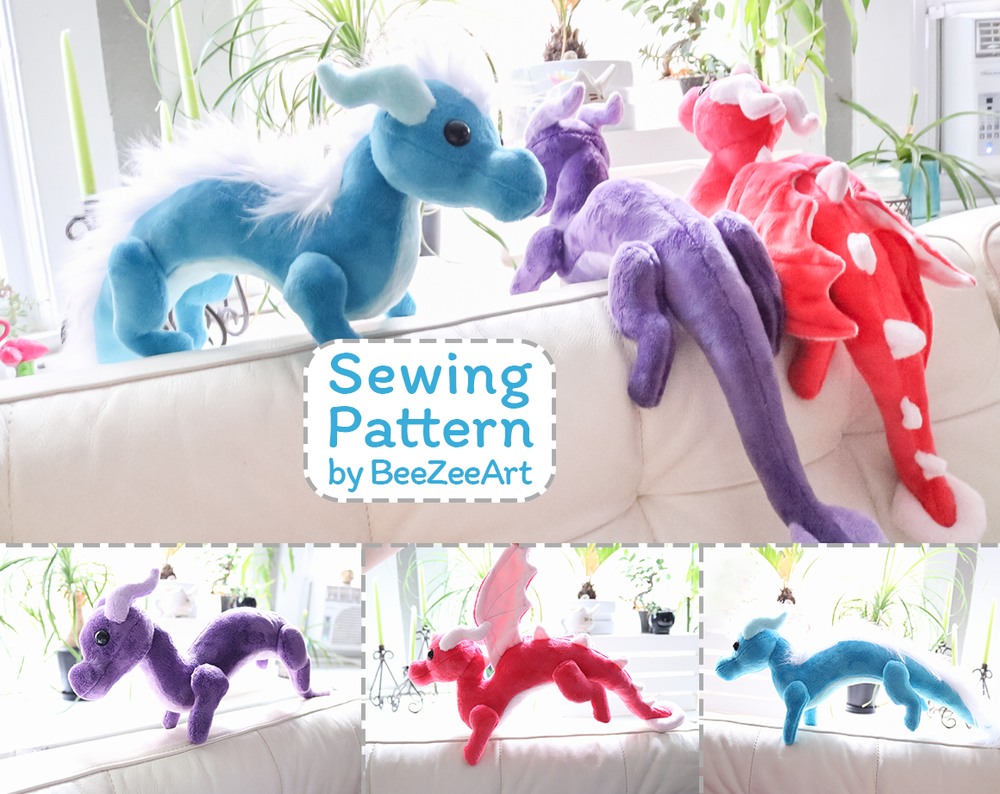 Shoulder Dragon Plush Sewing Pattern, Stuffed Animal Pattern, PDF File, Digital Download, Pattern, BeeZeeArt