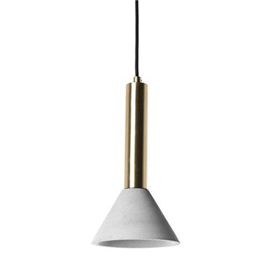 Concrete shade with brass metal - Conical